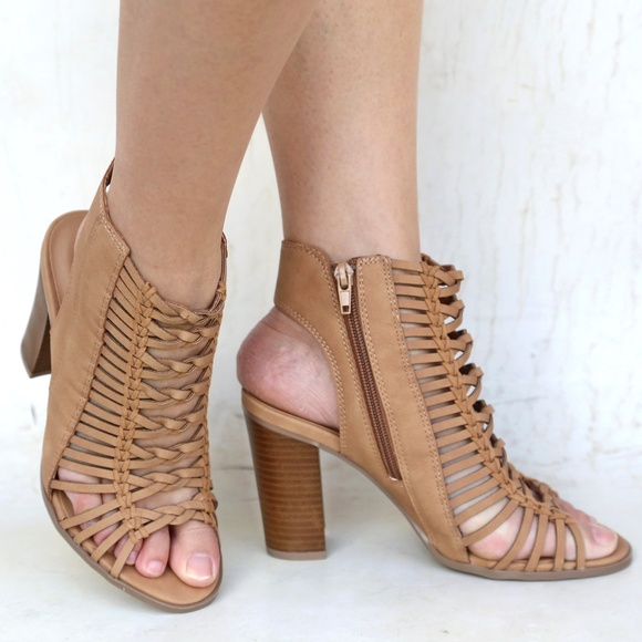 a5c17a2f0d82 New Tan Braided Strappy Block High Heel Sandals